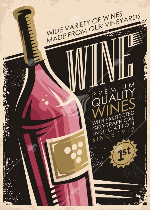 Antique Poster Vector Design Illustration With Wine Bottle